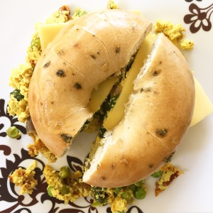 tofu quiche bagel