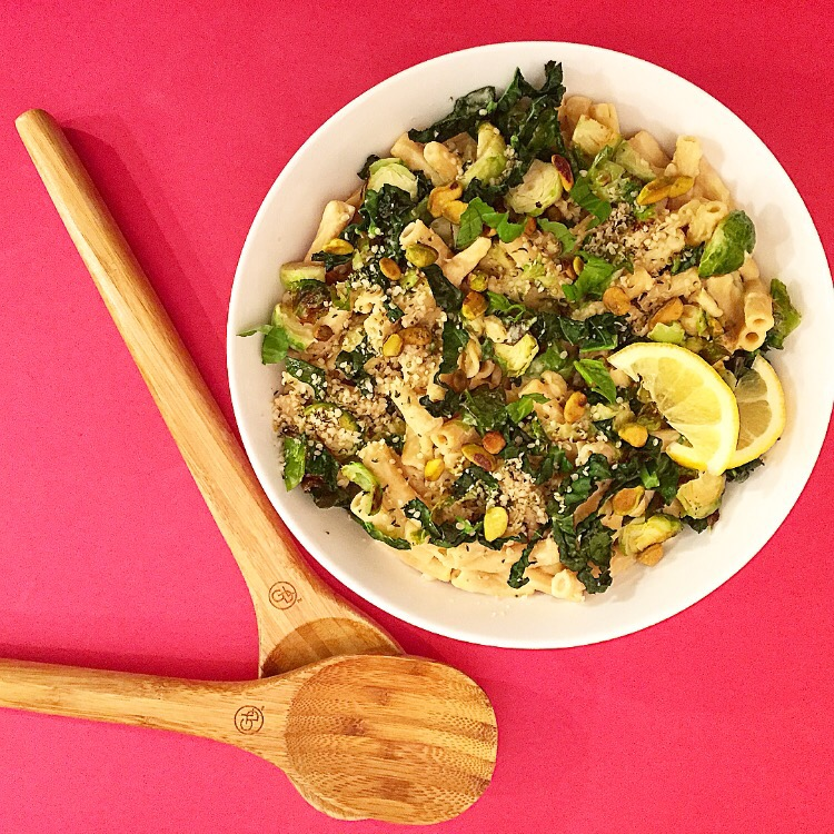Brussels Sprouts Tahini Pasta Greens Amp Fries