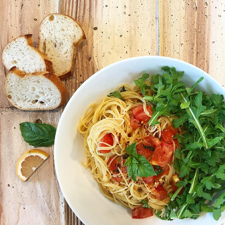 one-pot lemon capellini pomodoro – greens & fries