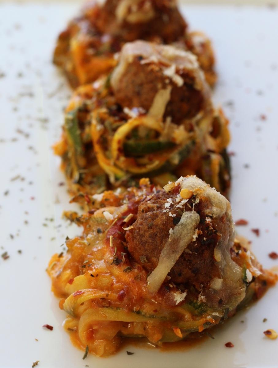 Meatball Marinara Zucchini Nests