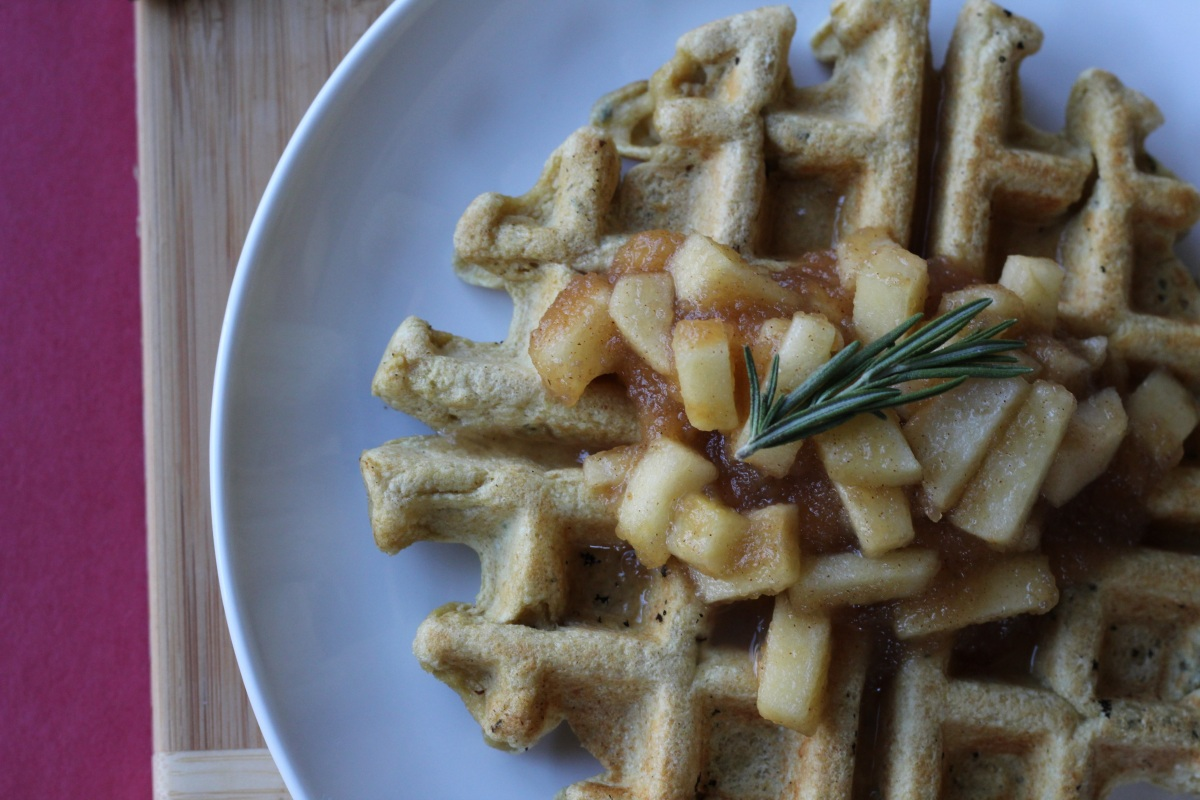 Savory Rosemary Waffles & Apple Compote