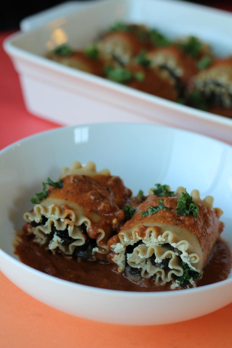 Wild Mushroom & Kale Lasagna Rolls – Greens & Fries