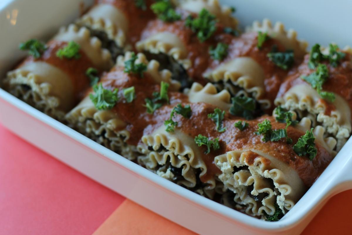 Wild Mushroom & Kale Lasagna Rolls
