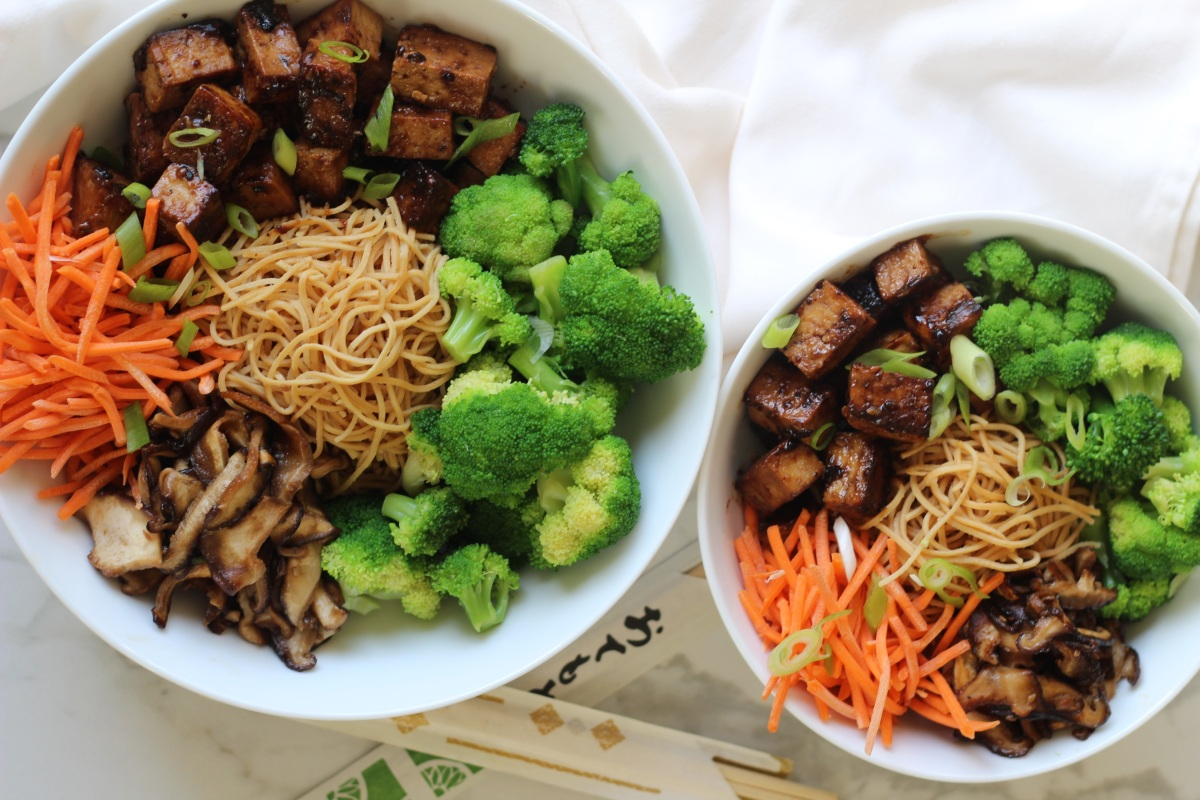 Tofu Teriyaki Noodle Bowls & Maple Tahini Dressing