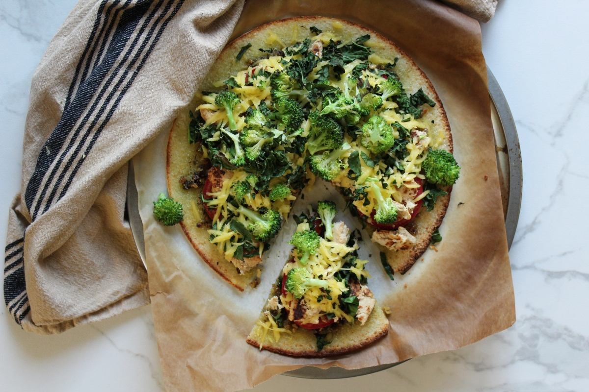 Broccoli Chick'n Kale Pesto Cauliflower Crust Pizza